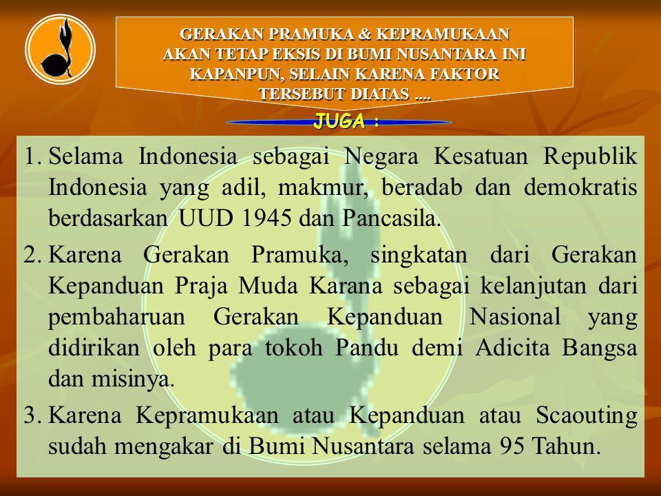 GERAKAN PRAMUKA & KEPRAMUKAAN AKAN TETAP EKSIS DI BUMI NUSANTARA INI KAPANPUN, SELAIN KARENA FAKTOR TERSEBUT DIATAS.... JUGA : 1. 1.Selama Indonesia s