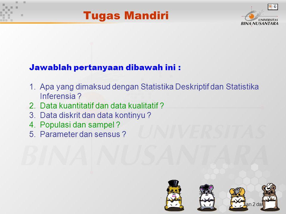 Halaman 2 dari Tugas Mandiri Jawablah pertanyaan dibawah ini : 1.Apa yang dimaksud dengan Statistika Deskriptif dan Statistika Inferensia ? 2.Data kua