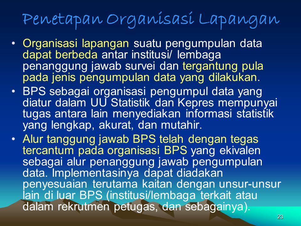 23 Penetapan Organisasi Lapangan Organisasi lapangan suatu pengumpulan data dapat berbeda antar institusi/ lembaga penanggung jawab survei dan tergant