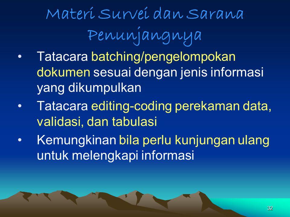32 Materi Survei dan Sarana Penunjangnya Tatacara batching/pengelompokan dokumen sesuai dengan jenis informasi yang dikumpulkan Tatacara editing-codin