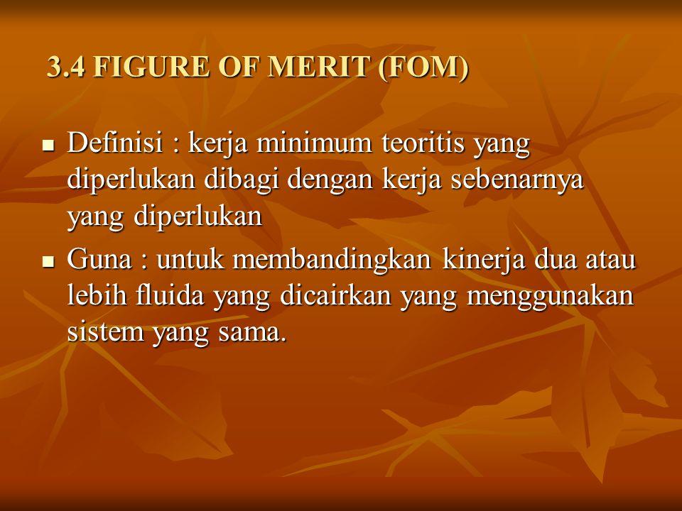 3.4 FIGURE OF MERIT (FOM) Definisi : kerja minimum teoritis yang diperlukan dibagi dengan kerja sebenarnya yang diperlukan Definisi : kerja minimum teoritis yang diperlukan dibagi dengan kerja sebenarnya yang diperlukan Guna : untuk membandingkan kinerja dua atau lebih fluida yang dicairkan yang menggunakan sistem yang sama.
