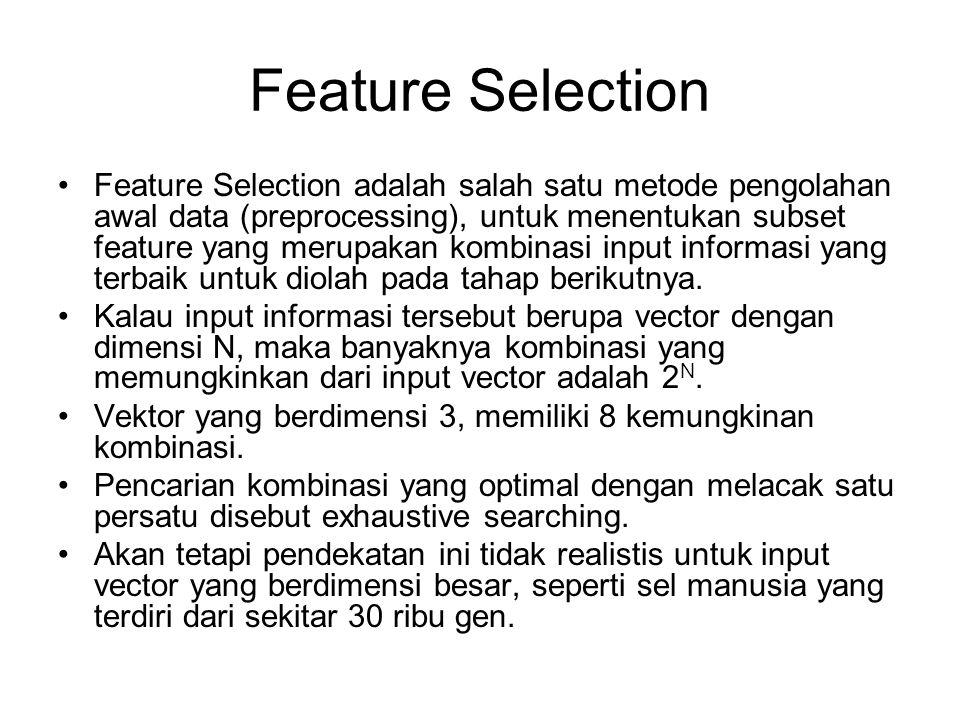 Feature Selection Feature Selection adalah salah satu metode pengolahan awal data (preprocessing), untuk menentukan subset feature yang merupakan komb