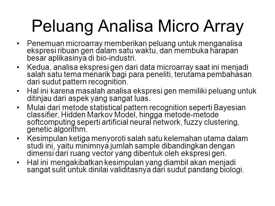 Peluang Analisa Micro Array Penemuan microarray memberikan peluang untuk menganalisa ekspresi ribuan gen dalam satu waktu, dan membuka harapan besar a