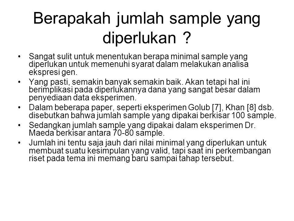 Berapakah jumlah sample yang diperlukan ? Sangat sulit untuk menentukan berapa minimal sample yang diperlukan untuk memenuhi syarat dalam melakukan an
