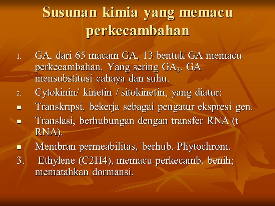 Susunan kimia yang memacu perkecambahan 1. GA, dari 65 macam GA, 13 bentuk GA memacu perkecambahan. Yang sering GA 3. GA mensubstitusi cahaya dan suhu