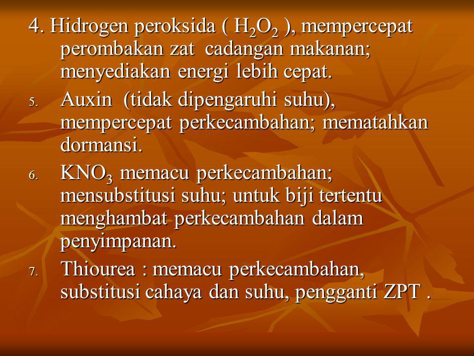 4. Hidrogen peroksida ( H 2 O 2 ), mempercepat perombakan zat cadangan makanan; menyediakan energi lebih cepat. 5. Auxin (tidak dipengaruhi suhu), mem