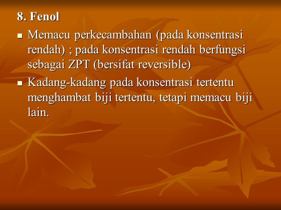 8. Fenol Memacu perkecambahan (pada konsentrasi rendah) ; pada konsentrasi rendah berfungsi sebagai ZPT (bersifat reversible) Memacu perkecambahan (pa