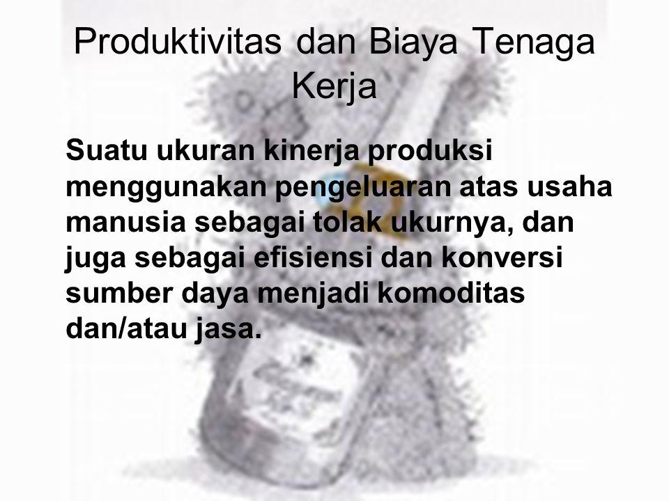 Produktivitas dan Biaya Tenaga Kerja Suatu ukuran kinerja produksi menggunakan pengeluaran atas usaha manusia sebagai tolak ukurnya, dan juga sebagai