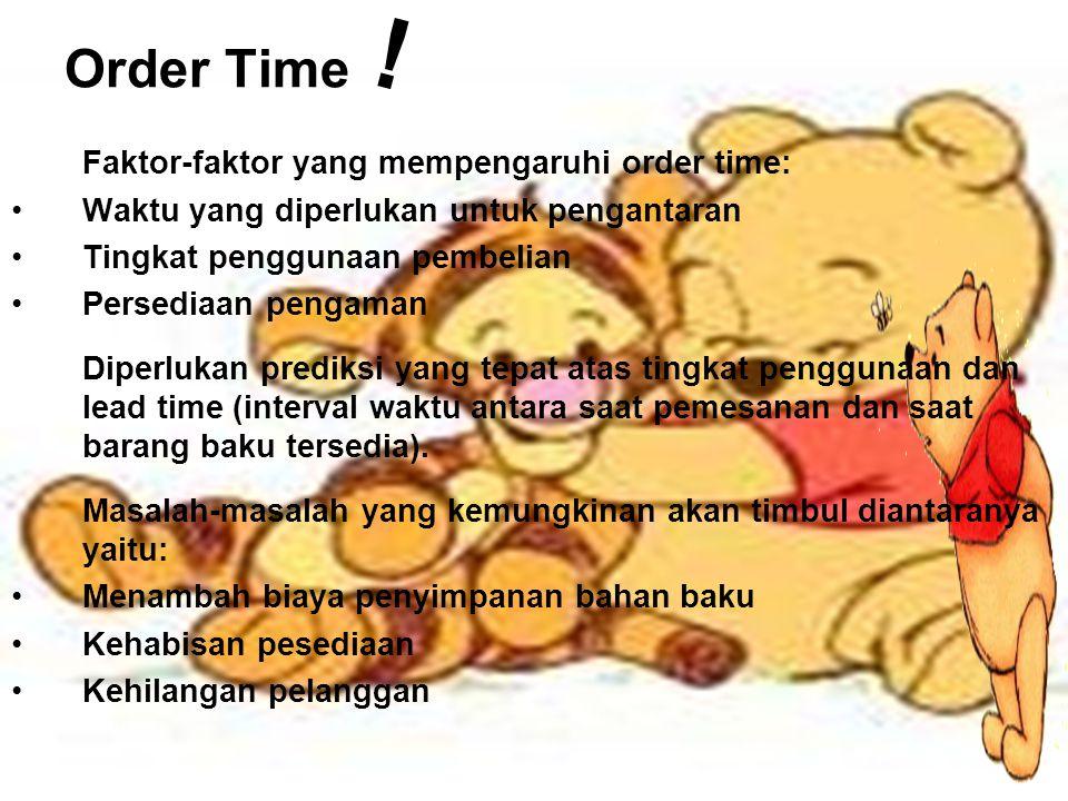 Order Time Faktor-faktor yang mempengaruhi order time: Waktu yang diperlukan untuk pengantaran Tingkat penggunaan pembelian Persediaan pengaman Diperl