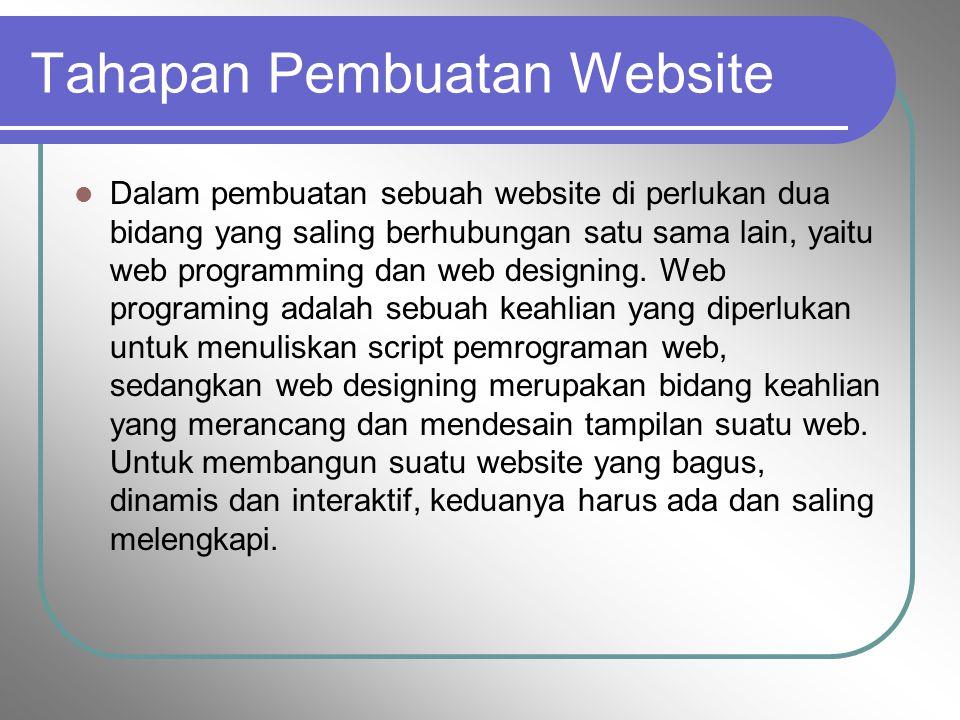 Tahapan Pembuatan Website Dalam pembuatan sebuah website di perlukan dua bidang yang saling berhubungan satu sama lain, yaitu web programming dan web