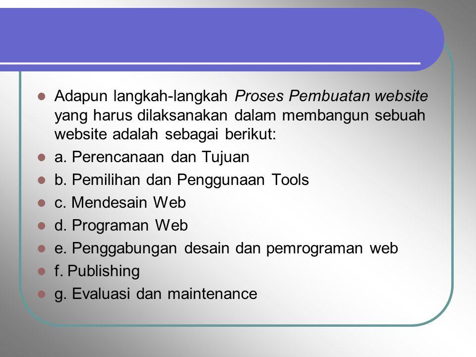 Adapun langkah-langkah Proses Pembuatan website yang harus dilaksanakan dalam membangun sebuah website adalah sebagai berikut: a. Perencanaan dan Tuju