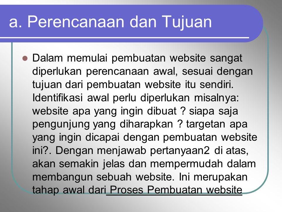a. Perencanaan dan Tujuan Dalam memulai pembuatan website sangat diperlukan perencanaan awal, sesuai dengan tujuan dari pembuatan website itu sendiri.