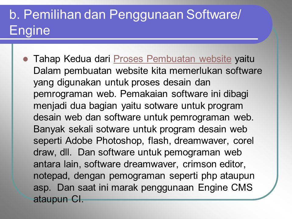 b. Pemilihan dan Penggunaan Software/ Engine Tahap Kedua dari Proses Pembuatan website yaitu Dalam pembuatan website kita memerlukan software yang dig