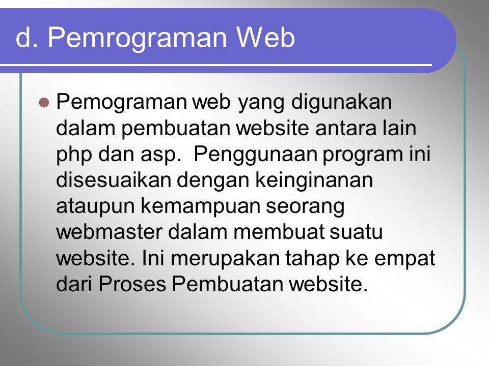 d. Pemrograman Web Pemograman web yang digunakan dalam pembuatan website antara lain php dan asp. Penggunaan program ini disesuaikan dengan keinginana