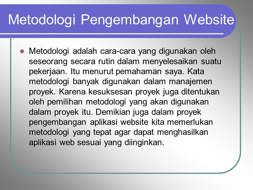 Metodologi Pengembangan Website Metodologi adalah cara-cara yang digunakan oleh seseorang secara rutin dalam menyelesaikan suatu pekerjaan. Itu menuru
