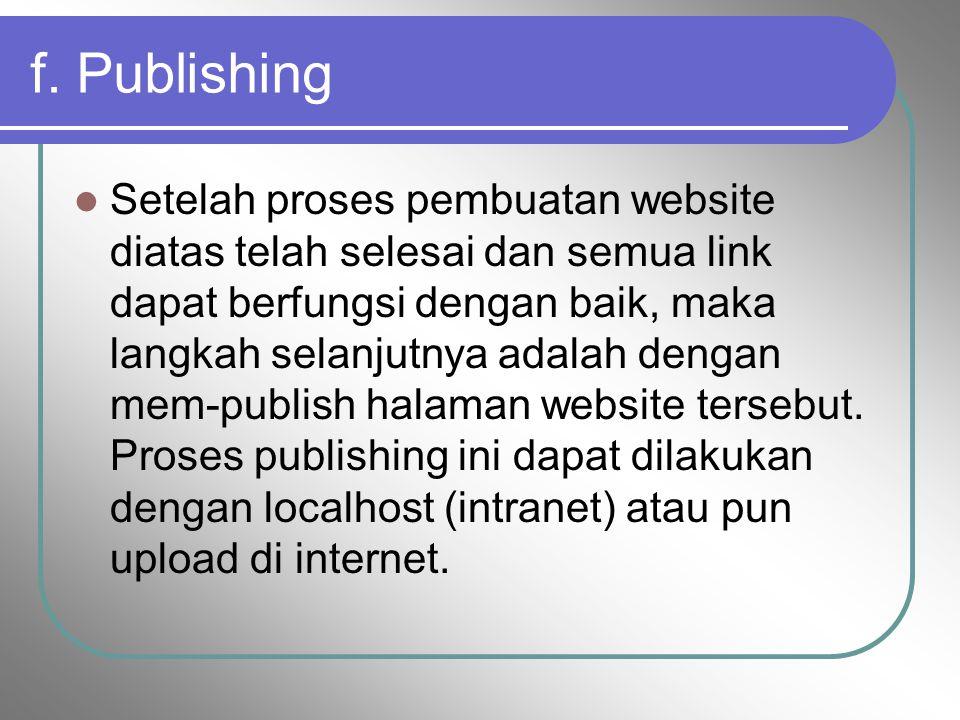 f. Publishing Setelah proses pembuatan website diatas telah selesai dan semua link dapat berfungsi dengan baik, maka langkah selanjutnya adalah dengan