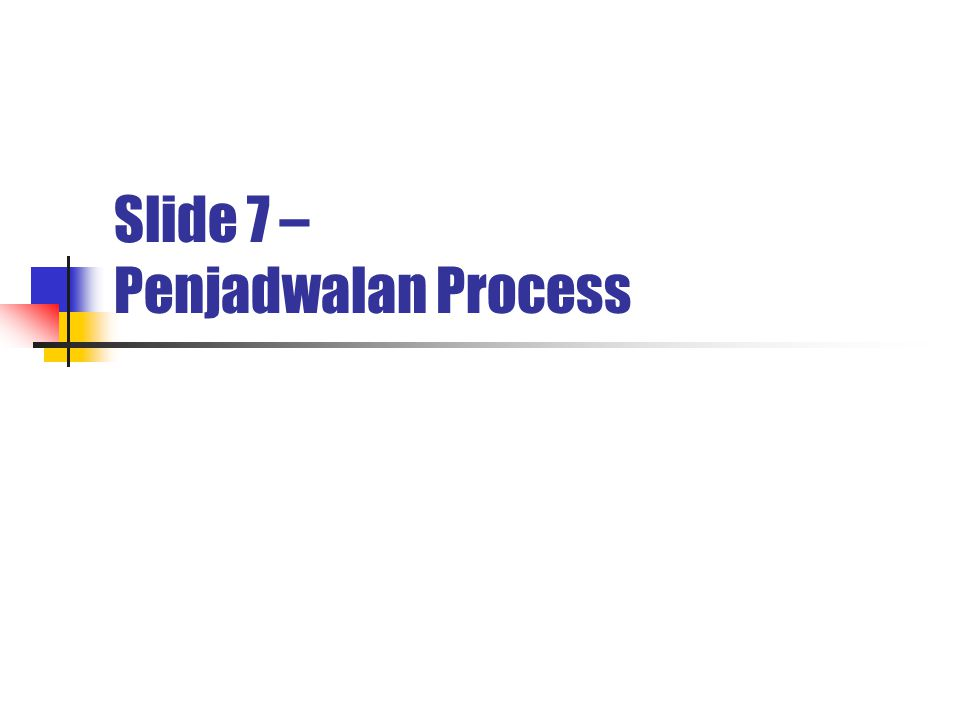 2 Penjadwalan Process  Konsep Dasar Penjadwalan Proses.