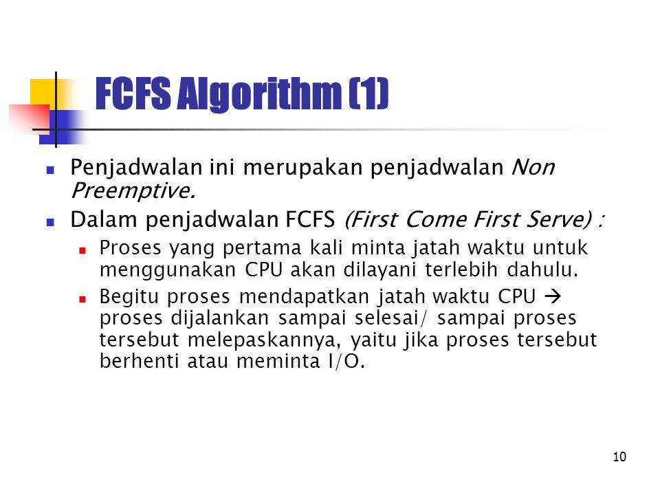 10 FCFS Algorithm (1) Penjadwalan ini merupakan penjadwalan Non Preemptive. Dalam penjadwalan FCFS (First Come First Serve) : Proses yang pertama kali