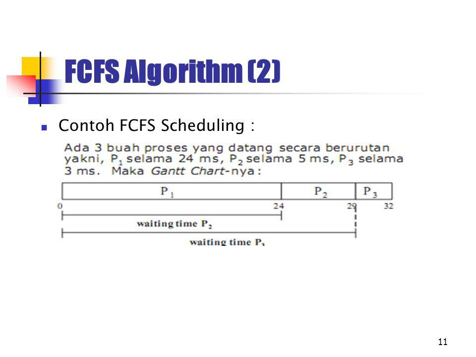 11 FCFS Algorithm (2) Contoh FCFS Scheduling :