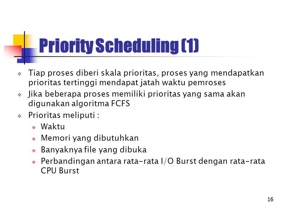 16 Priority Scheduling (1)  Tiap proses diberi skala prioritas, proses yang mendapatkan prioritas tertinggi mendapat jatah waktu pemroses  Jika bebe