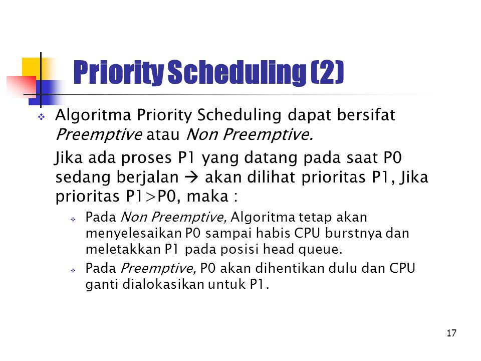 17 Priority Scheduling (2)  Algoritma Priority Scheduling dapat bersifat Preemptive atau Non Preemptive. Jika ada proses P1 yang datang pada saat P0