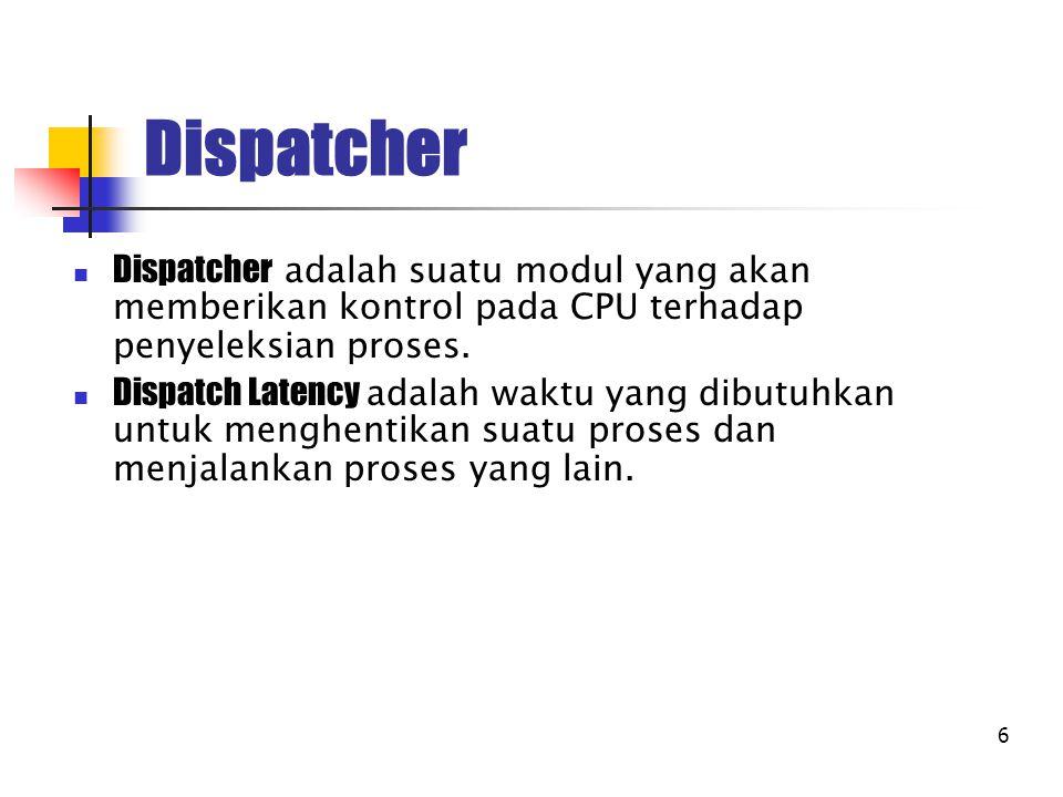 6 Dispatcher Dispatcher adalah suatu modul yang akan memberikan kontrol pada CPU terhadap penyeleksian proses. Dispatch Latency adalah waktu yang dibu