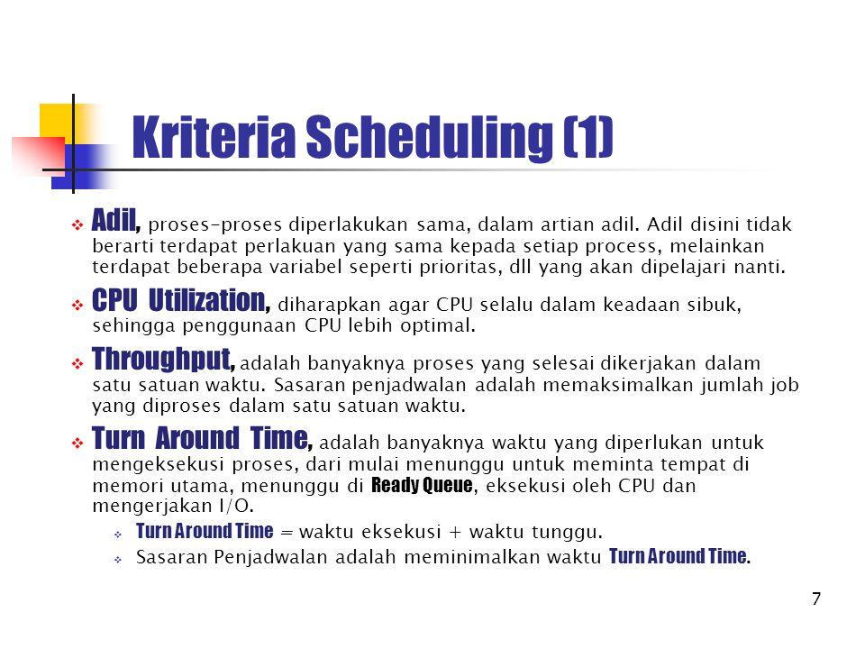 7 Kriteria Scheduling (1)  Adil, proses-proses diperlakukan sama, dalam artian adil. Adil disini tidak berarti terdapat perlakuan yang sama kepada se