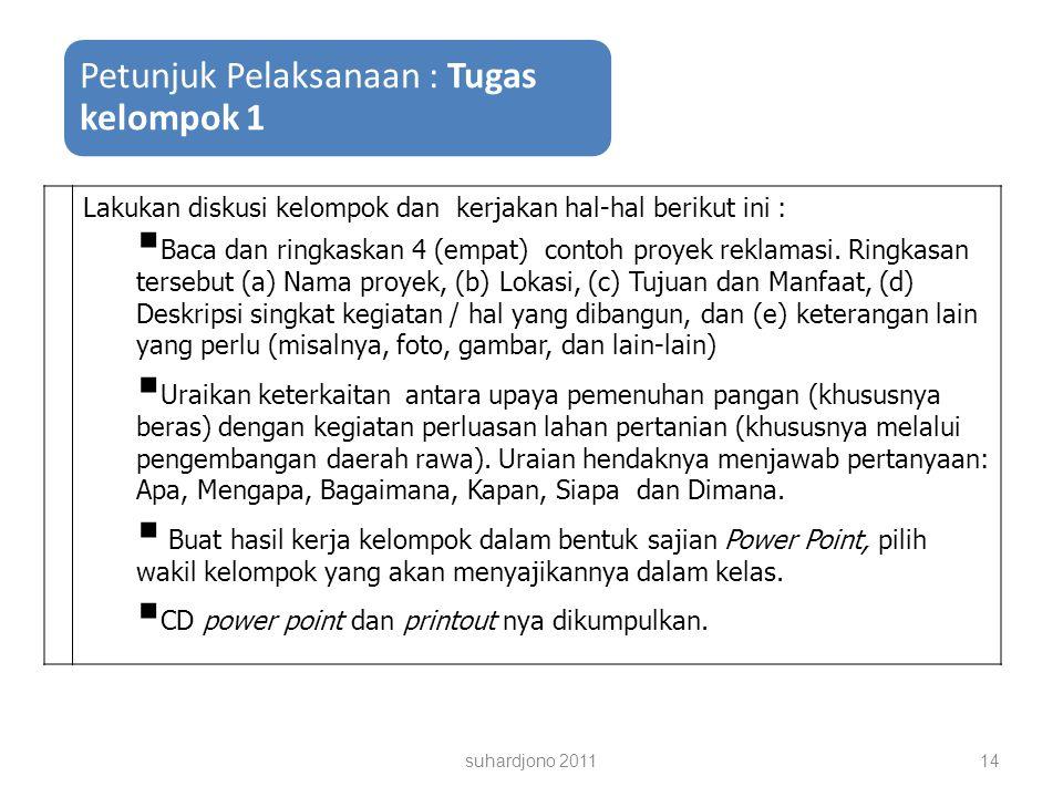suhardjono 201114 Petunjuk Pelaksanaan : Tugas kelompok 1 Lakukan diskusi kelompok dan kerjakan hal-hal berikut ini :  Baca dan ringkaskan 4 (empat) contoh proyek reklamasi.