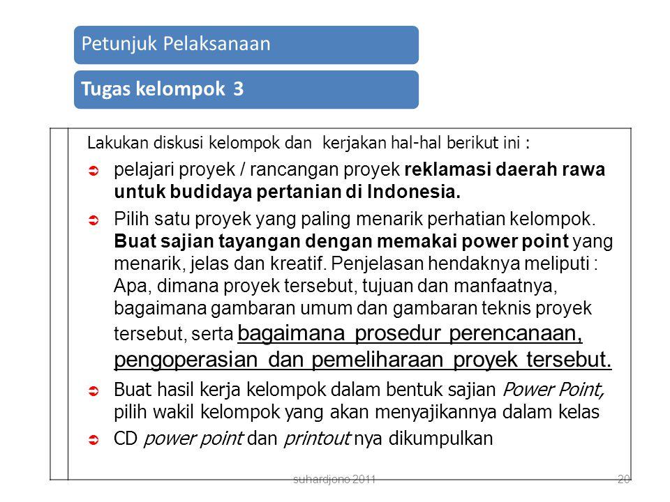 suhardjono 201120 Petunjuk PelaksanaanTugas kelompok 3 Lakukan diskusi kelompok dan kerjakan hal-hal berikut ini :  pelajari proyek / rancangan proyek reklamasi daerah rawa untuk budidaya pertanian di Indonesia.