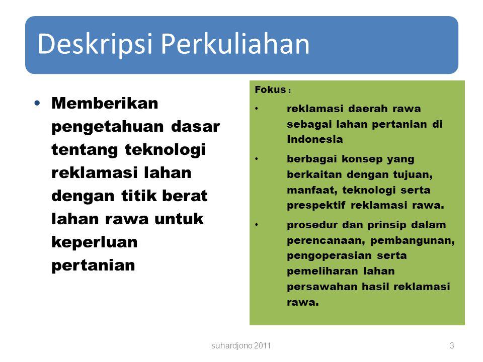 Deskripsi Perkuliahan Fokus : reklamasi daerah rawa sebagai lahan pertanian di Indonesia berbagai konsep yang berkaitan dengan tujuan, manfaat, teknologi serta prespektif reklamasi rawa.