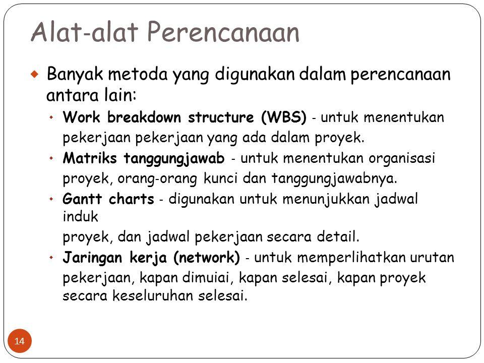 Alat ‐ alat Perencanaan  Banyak metoda yang digunakan dalam perencanaan antara lain:  Work breakdown structure (WBS) ‐ untuk menentukan pekerjaan pekerjaan yang ada dalam proyek.