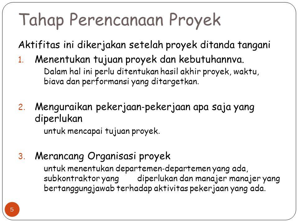 Tahap Perencanaan Proyek Aktifitas ini dikerjakan setelah proyek ditanda tangani 1. Menentukan tujuan proyek dan kebutuhannva. Dalam hal ini perlu dit