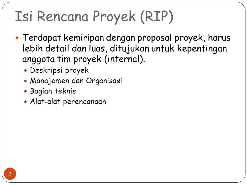 Isi Rencana Proyek (RIP) Terdapat kemiripan dengan proposal proyek, harus lebih detail dan luas, ditujukan untuk kepentingan anggota tim proyek (inter
