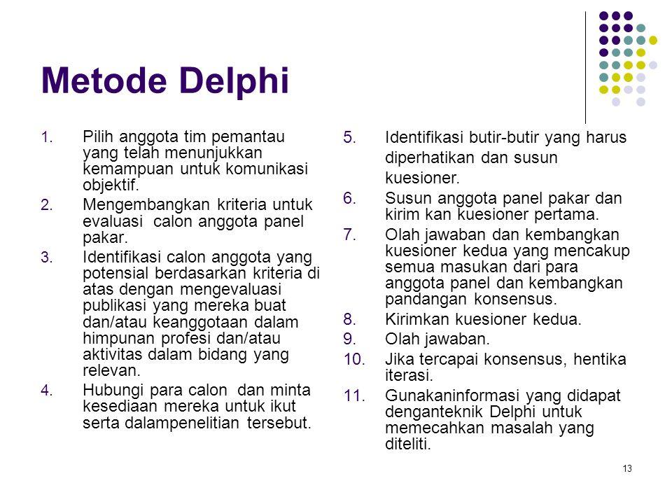 13 Metode Delphi 1. Pilih anggota tim pemantau yang telah menunjukkan kemampuan untuk komunikasi objektif. 2. Mengembangkan kriteria untuk evaluasi ca