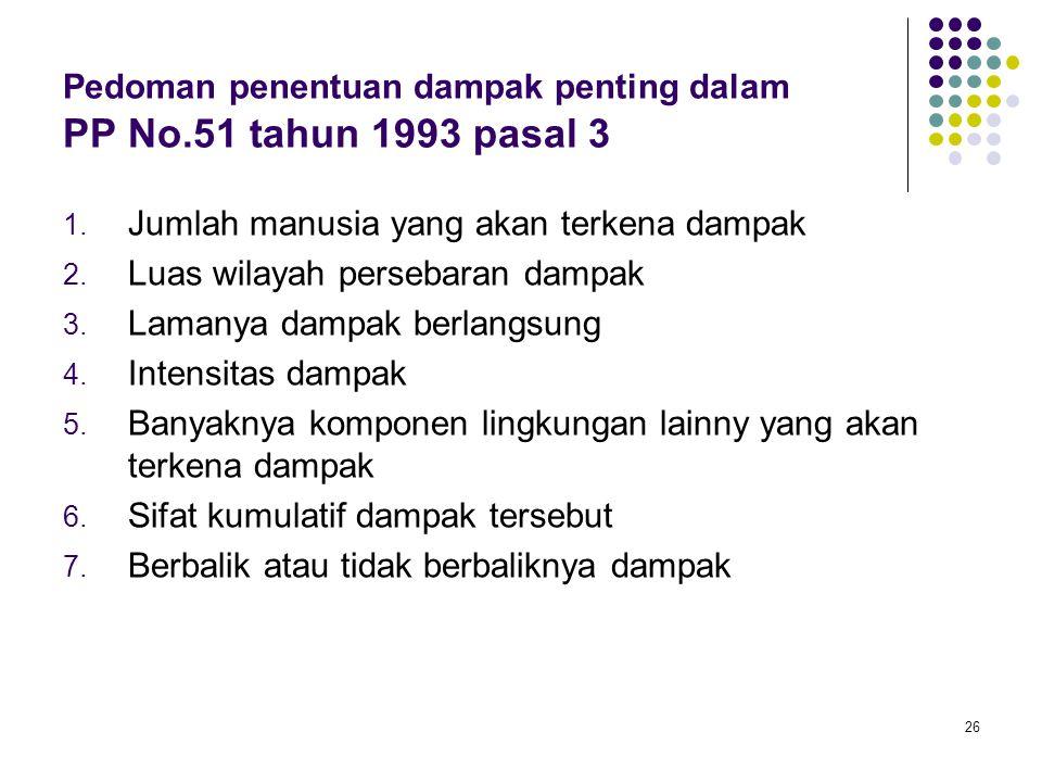 26 Pedoman penentuan dampak penting dalam PP No.51 tahun 1993 pasal 3 1. Jumlah manusia yang akan terkena dampak 2. Luas wilayah persebaran dampak 3.