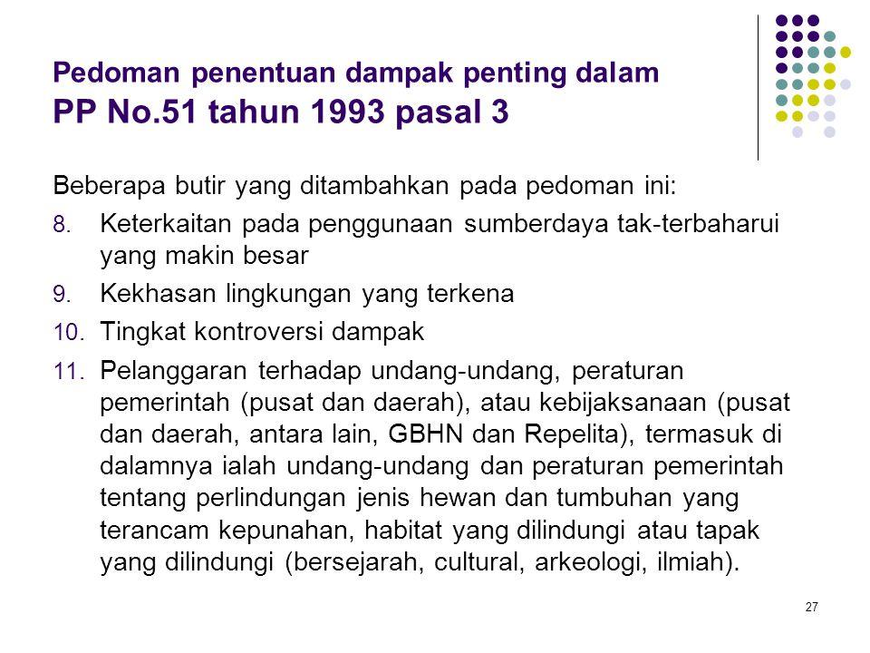 27 Pedoman penentuan dampak penting dalam PP No.51 tahun 1993 pasal 3 Beberapa butir yang ditambahkan pada pedoman ini: 8. Keterkaitan pada penggunaan