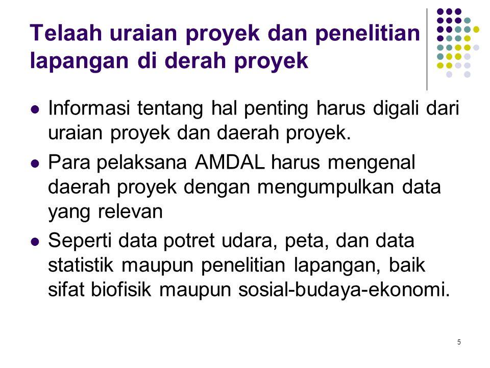 5 Telaah uraian proyek dan penelitian lapangan di derah proyek Informasi tentang hal penting harus digali dari uraian proyek dan daerah proyek. Para p
