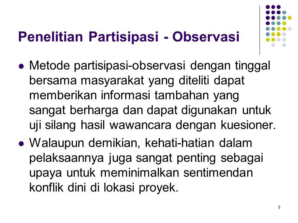 8 Penelitian Partisipasi - Observasi Metode partisipasi-observasi dengan tinggal bersama masyarakat yang diteliti dapat memberikan informasi tambahan