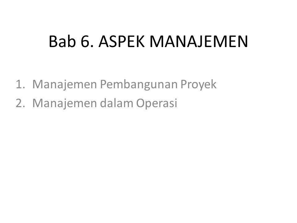 Bab 6. ASPEK MANAJEMEN 1.Manajemen Pembangunan Proyek 2.Manajemen dalam Operasi