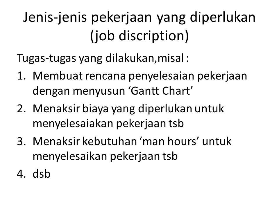 Jenis-jenis pekerjaan yang diperlukan (job discription) Tugas-tugas yang dilakukan,misal : 1.Membuat rencana penyelesaian pekerjaan dengan menyusun 'G
