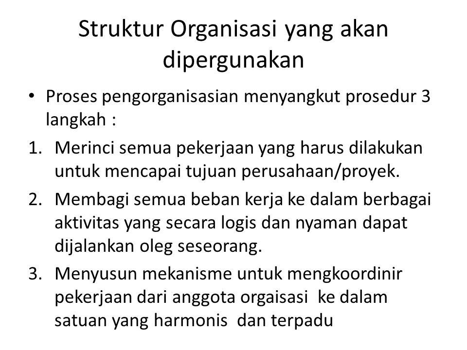 Struktur Organisasi yang akan dipergunakan Proses pengorganisasian menyangkut prosedur 3 langkah : 1.Merinci semua pekerjaan yang harus dilakukan untu
