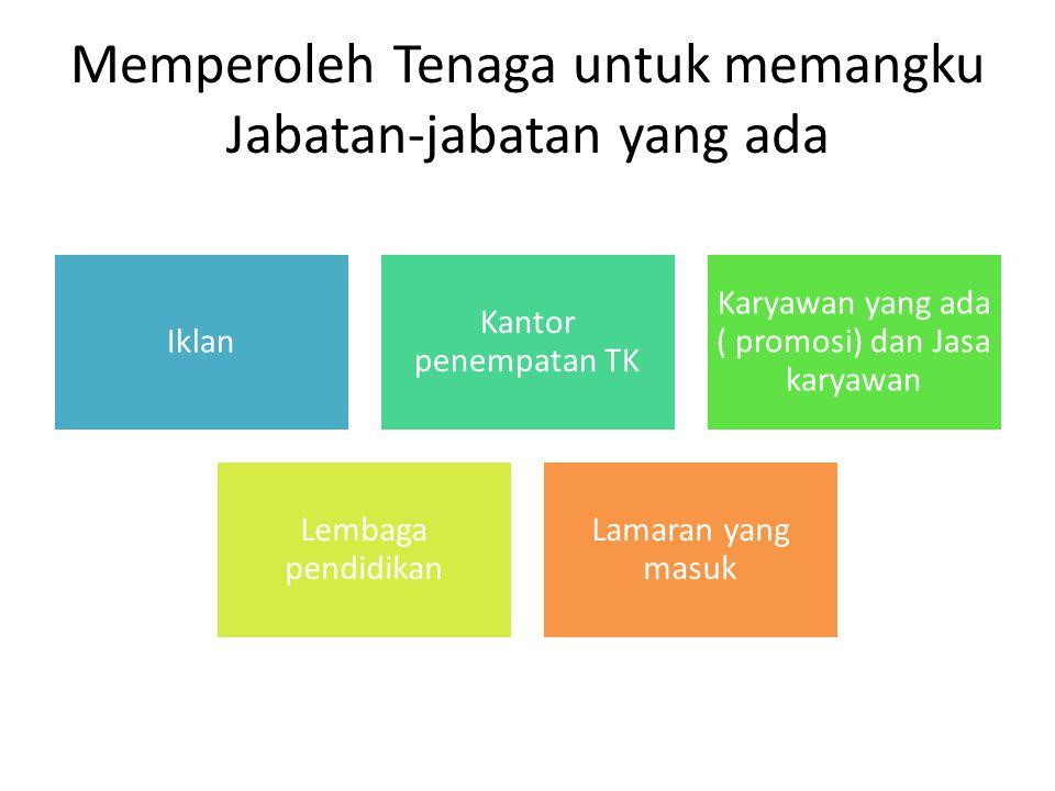 Memperoleh Tenaga untuk memangku Jabatan-jabatan yang ada Iklan Kantor penempatan TK Karyawan yang ada ( promosi) dan Jasa karyawan Lembaga pendidikan