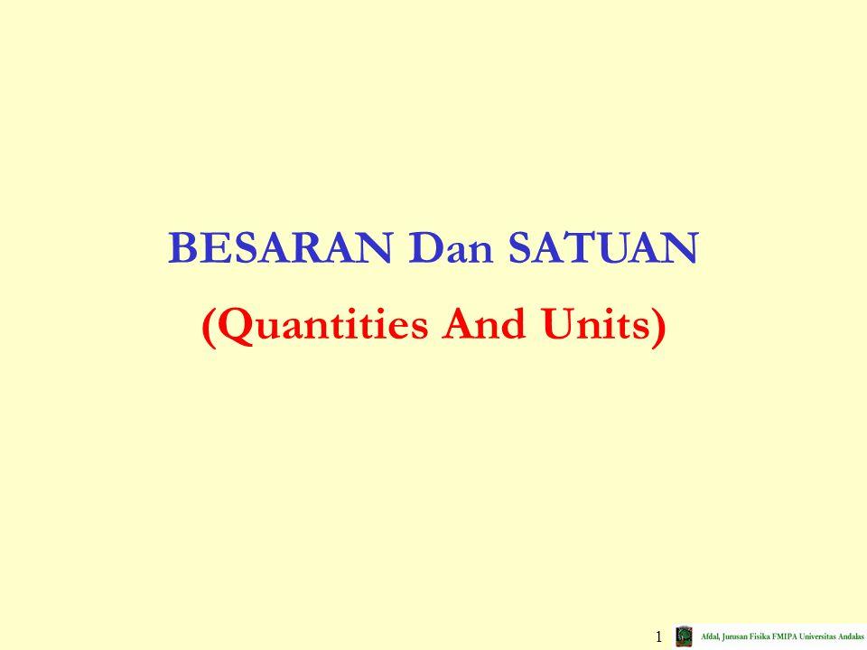 22 Gaussian System (cgs)Sistem Gaussian QuantitiesUnitsBesaranSatuan massgram (g)massagram lengthcentimeter (cm)panjangsentimeter timesecond (s)waktudetik / sekon British Engineering SystemSistem Inggris QuantitiesUnitsBesaranSatuan massslugmassaslug lengthfoot (ft)panjangkaki timesecond (s)waktudetik