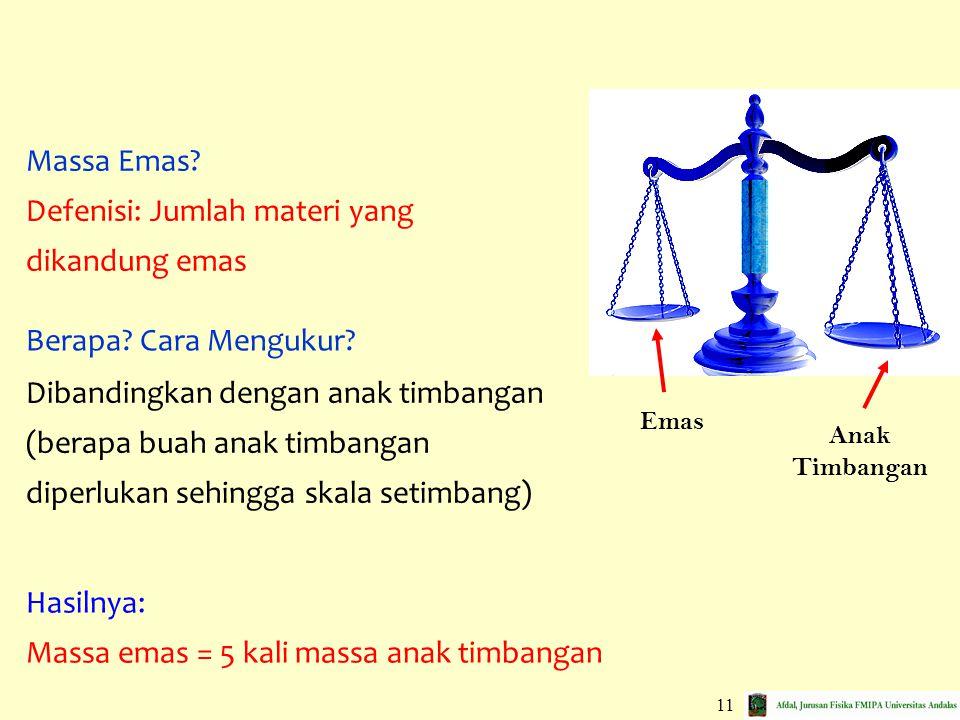 11 Emas Anak Timbangan Dibandingkan dengan anak timbangan (berapa buah anak timbangan diperlukan sehingga skala setimbang) Hasilnya: Massa emas = 5 ka