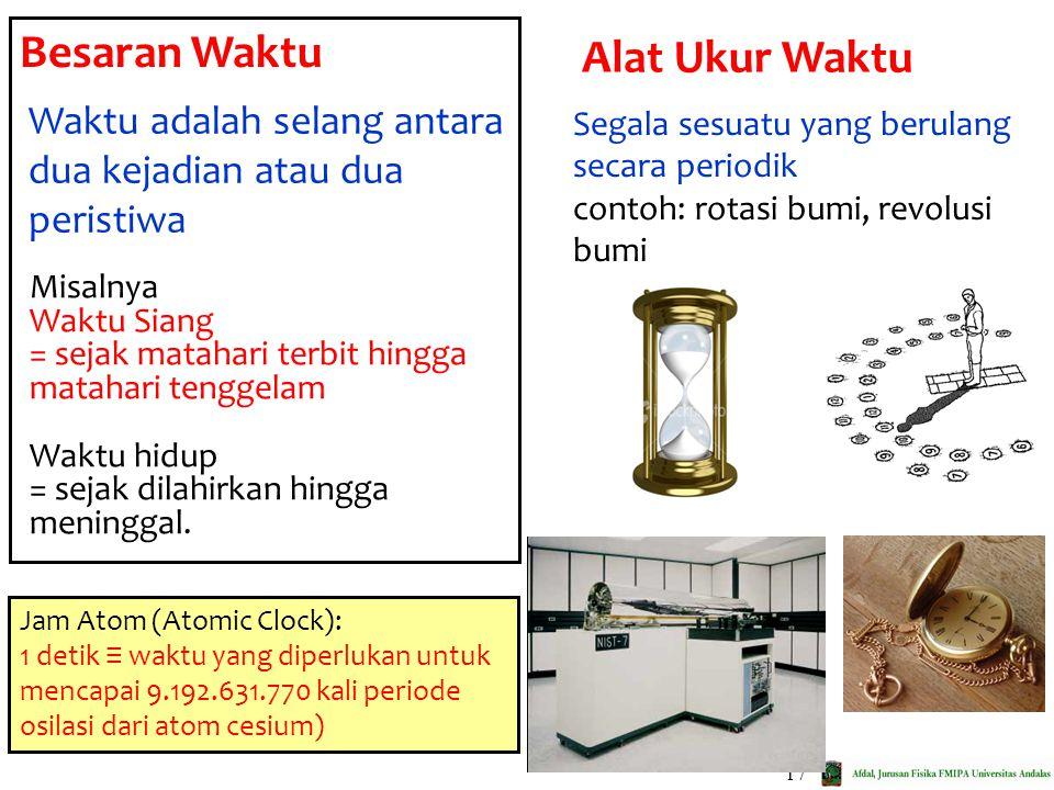 17 Besaran Waktu Waktu adalah selang antara dua kejadian atau dua peristiwa Misalnya Waktu Siang = sejak matahari terbit hingga matahari tenggelam Wak
