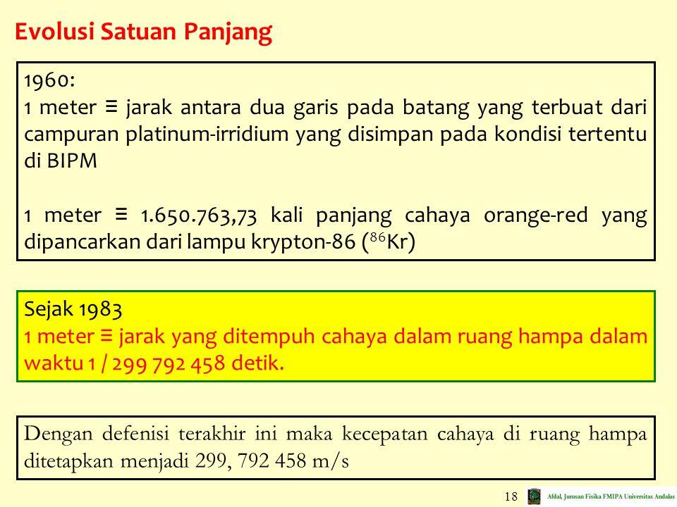 18 Evolusi Satuan Panjang 1960: 1 meter ≡ jarak antara dua garis pada batang yang terbuat dari campuran platinum-irridium yang disimpan pada kondisi t