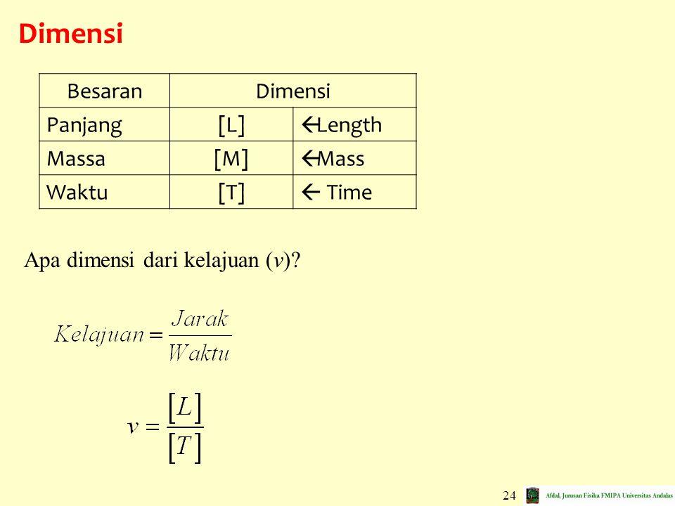 24 Dimensi BesaranDimensi Panjang[L]  Length Massa[M]  Mass Waktu[T]  Time Apa dimensi dari kelajuan (v)?