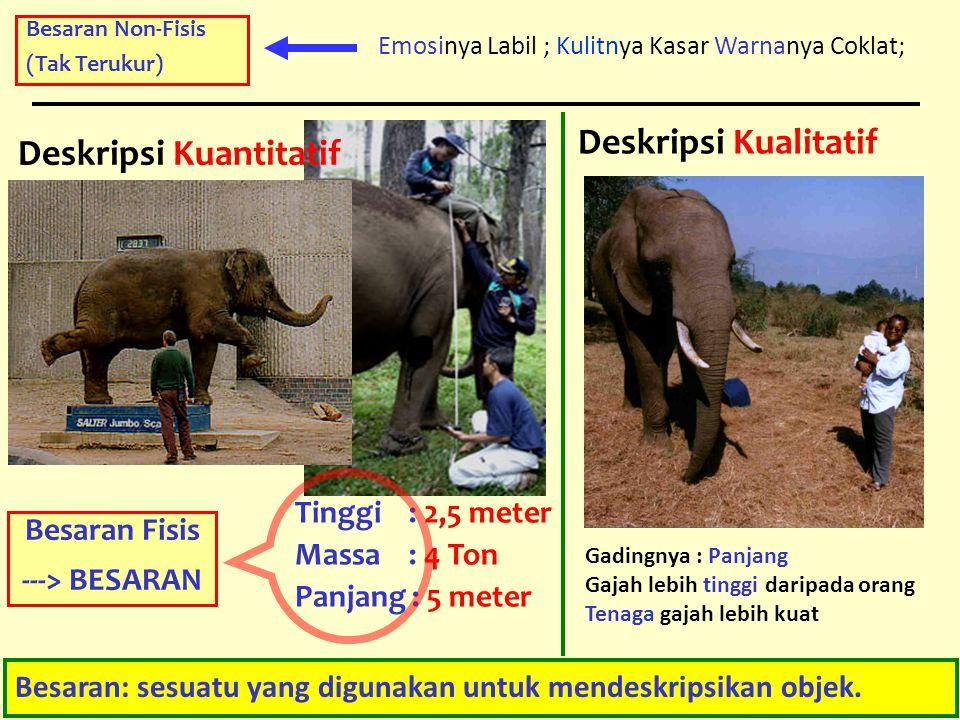 3 Deskripsi Kualitatif Gadingnya : Panjang Gajah lebih tinggi daripada orang Tenaga gajah lebih kuat Deskripsi Kuantitatif Tinggi : 2,5 meter Massa :