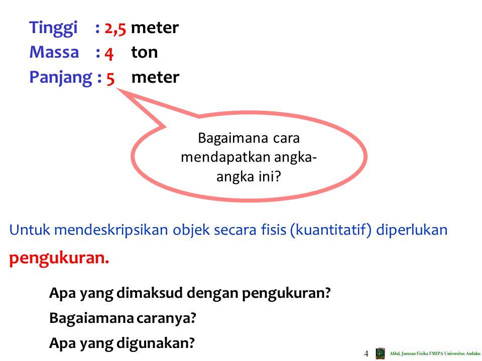 4 Untuk mendeskripsikan objek secara fisis (kuantitatif) diperlukan pengukuran. Tinggi : 2,5 meter Massa : 4 ton Panjang : 5 meter Bagaimana cara mend