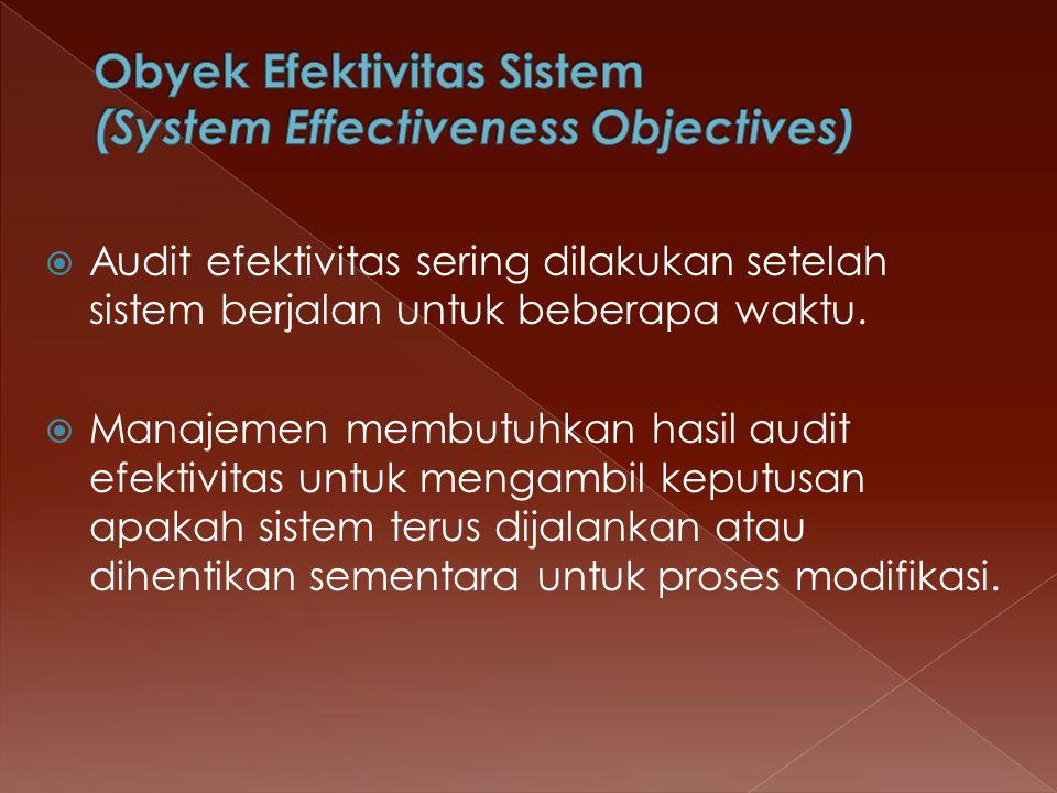  Audit efektivitas sering dilakukan setelah sistem berjalan untuk beberapa waktu.  Manajemen membutuhkan hasil audit efektivitas untuk mengambil kep